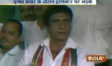 watch raj babbar shouting at up police inspector...