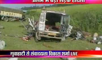 31 people dead as truck hits two vans in assam -...