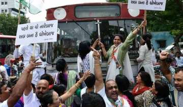 congress workers hold agitations against...