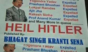 now poster compares delhi cm kejriwal with hitler...