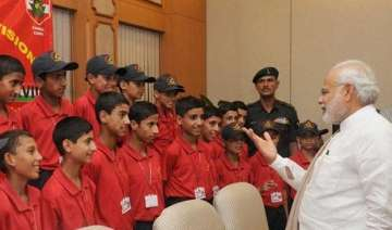 pm modi meets children from jammu and kashmir in...