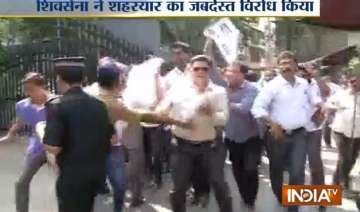 shiv sena activists protest at bcci office in...