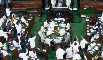 lok sabha adjourned for day over missing files...