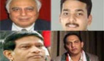 sibal jogi azhar in cong list kalmadi replaced by...