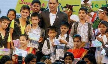 ms dhoni spends time with special children in...