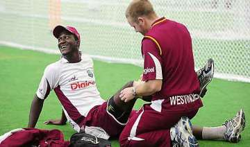 work on at frantic pace at windies warm up venue...