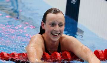 ledecky first woman to win three freestyle events...