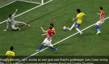 fifa world cup marcelo scores brazil s first own...