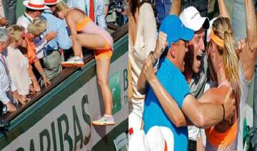 how sharapova climbed the stand to meet her dear...