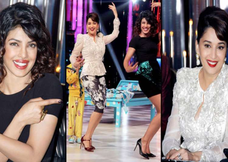 priyanka chopra makes madhuri dixit dance on the sets of- India Tv