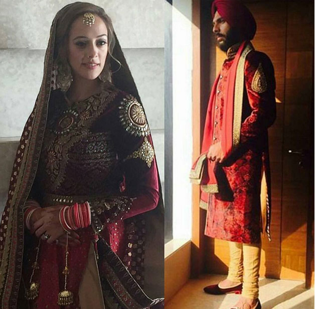 Sporting a red Sherwani with cream coloured churidar, Yuvraj was all decked up as the groom with a red turban. Hazel wore a heavily embroidered Lehenga with her head covered with an embroidered dupatta.