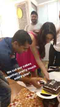 Shraddha also cut the birthday cake with one of her spot boys Raju with whom she shares her birthday. He is working with the actress from quite some time and the lady considers her staff as her family.
