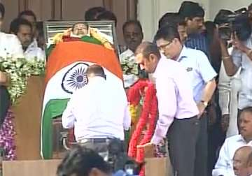 Tributes being paid to Jayalalithaa at Rajaji...