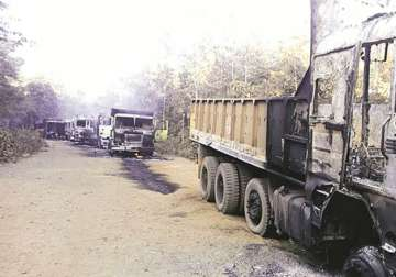 Naxals torch 50 vehicles of mining firm in...