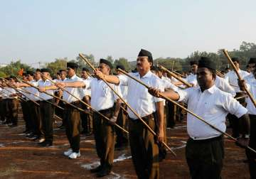 File pic - RSS members taking part in a foot...