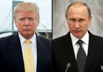 File pic - Donald Trump and Vladimir Putin -...