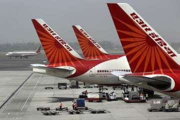 Air India aircraft parked at the Delhi airport....