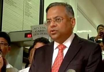 Tata Sons Chairman speaks to reporters after...