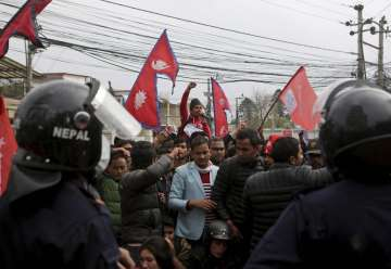 Nepalese students shout slogans against India...