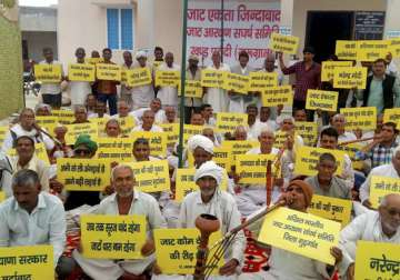 Jat community members during their agitation for...