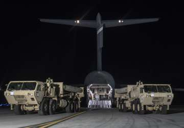 Trucks carrying US missile launchers at Osan air...