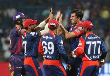 aredevils players celebrates the wicket of Ben...