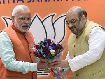 File pic of PM Modi and BJP president Amit Shah -...