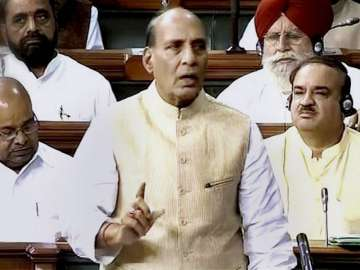 Union Home Minister Rajnath Singh speaks on the...