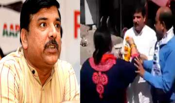 AAP's Sanjay Singh slapped by woman party worker...