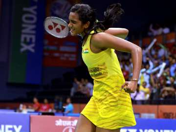 PV Sindhu celebrates after winning blockbuster QF...
