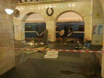 A subway train hit by an explosion in St...