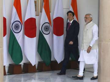 File pic of Japan PM Abe with his Indian...