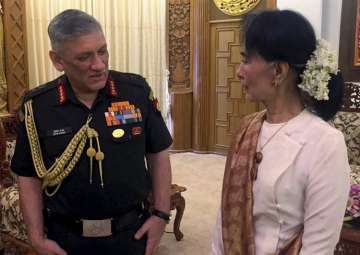 Army Chief Gen Bipin Rawat with Myanmar State...