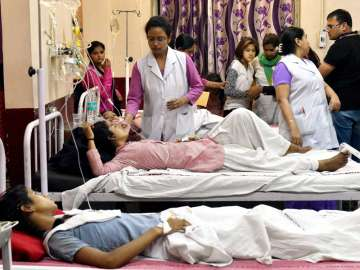 School students being treated at a hospital in...