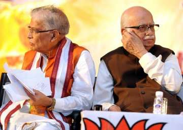 File pic of MM Joshi and Lk Advani at an event -...