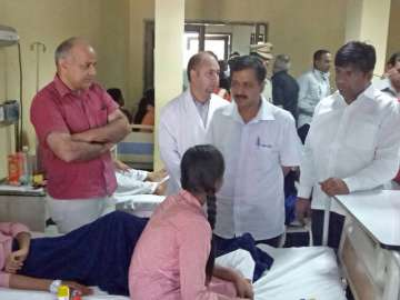 Kejriwal, Sisodia meeting students at one of the...