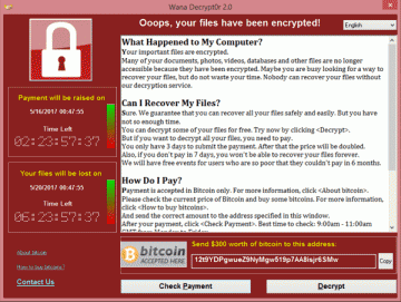 WannaCry screen after infecting