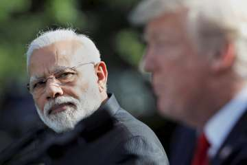 PM Narendra Modi and US President Donald Trump at...