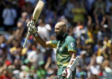 Hashim Amla celebrates his 100 during the ICC...
