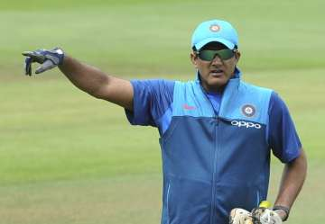 Former Indian coach Anil Kumble at nets session -...