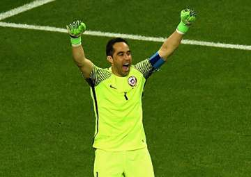 Claudio Bravo celebrates Chile's win over...