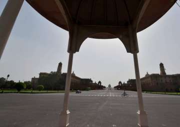 A view of roads at Vijay Chowk wearing almost...