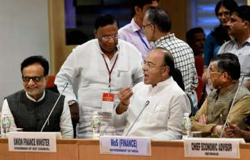 Jaitley at the 17th GST Council Meeting on Sunday...