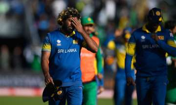 Lasith Malinga reacts after the ICC Champions...