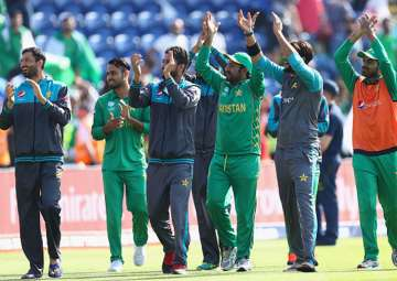 Pakistan players celebrate their victory over...