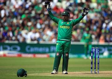 Pakistan captain Sarfraz Ahmed in action during...