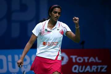 Sindhu Pusarla V of India celebrates after...