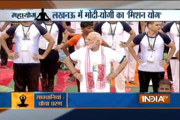 PM Modi at Yoga Day celebrations in Lucknow -...