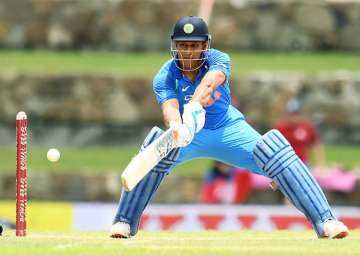 MS Dhoni in action during India's third ODI...