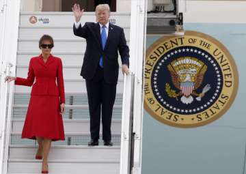 Donald Trump and FirstLady Melania arrive at Orly...